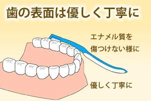 歯の表面は優しく丁寧に
